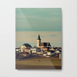 Small village skyline with mint sky | landscape photography Metal Print