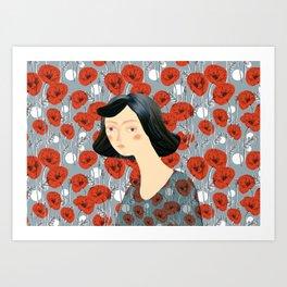 Girl on poppies Art Print
