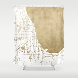 Chicago Gold and White Map Shower Curtain