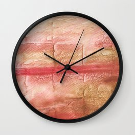 Red Pink stained watercolor texture Wall Clock