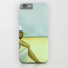 A Plage Américaine beach coastal landscape painting by Jéanpaul Lemieux iPhone Case