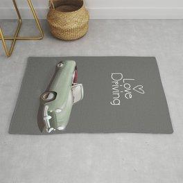 Love driving vintage car poster. Rug
