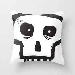 Black and White Cracked Skull Throw Pillow