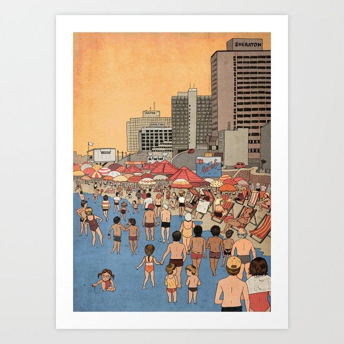 Tel Aviv Beach in the 80s Art Print