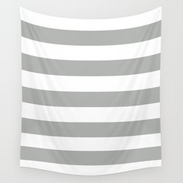 Silver foil - solid color - white stripes pattern Wall Tapestry