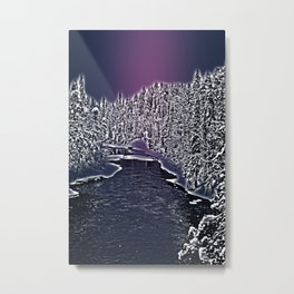 Winter river in Lapland Finland  Metal Print