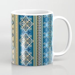 Blue and Gold Fleur de Lis Pattern Coffee Mug