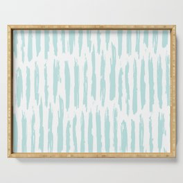 Vertical Dash Stripes Succulent Blue and White Serving Tray