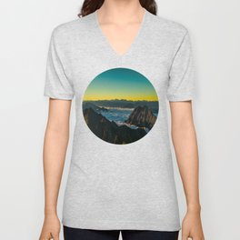 Yellow & Teal Turquoise Ombre Sunrise over Mountain Range Unisex V-Neck