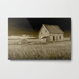 Sepia Tone of Abandoned buildings along the coast on Prince Edward Island Metal Print