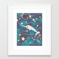 narwhal Framed Art Prints featuring Narwhal by Laura Gómez
