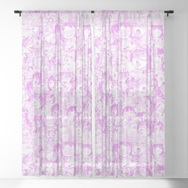 Pastel Ahegao Collage Sheer Curtain