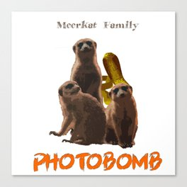 Meerkat Family Photobomb Canvas Print