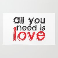 all you need is love Area & Throw Rugs featuring All you need is love by Arevik Martirosyan