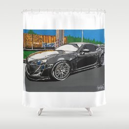 B is for builds  plan A painting Shower Curtain