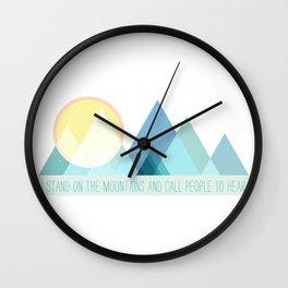 Geometric Color Block Mountains (Blues) Wall Clock