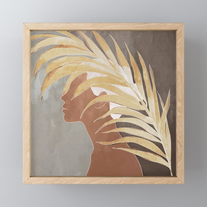 Woman with Golden Palm Leaf Framed Mini Art Print