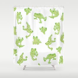 Froggy Frog large green Shower Curtain