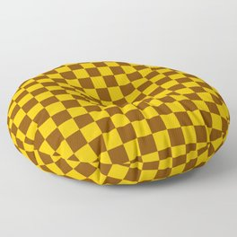 Amber Orange and Chocolate Brown Checkerboard Floor Pillow