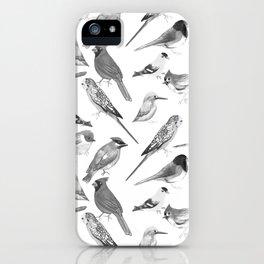 Black and white birds against white graphite artwork iPhone Case