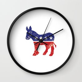 Democrat Original Donkey Distressed Tan Wall Clock
