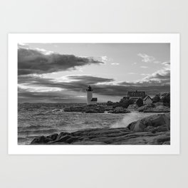 Annisquam Lighthouse Black and white Art Print
