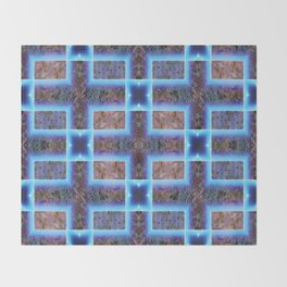geometric ink blot and smudge ancient techno geek pattern Throw Blanket