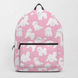 Bichon Frise Pattern (Pink Background) Backpack