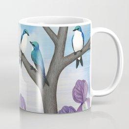 tree swallows & irises Coffee Mug