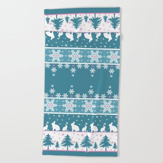 Retro .Christmas . Beach Towel
