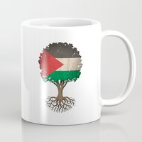 palestine Mugs featuring Vintage Tree of Life with Flag of Palestine by Jeff Bartels