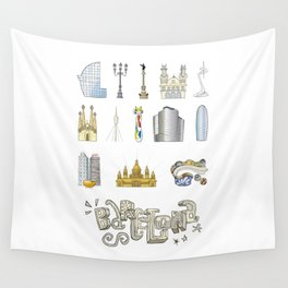 Barcelona with significant buildings Wall Tapestry