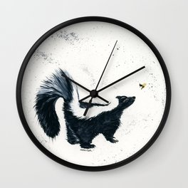 Curious Skunk - animal watercolor painting Wall Clock