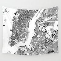 new york map Wall Tapestries featuring New York Map by Maps Factory