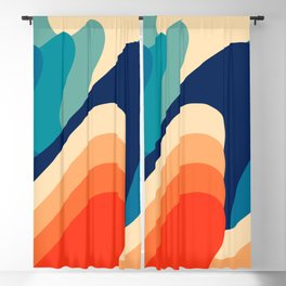 Retro 70s and 80s Abstract Art Mid-Century Waves  Blackout Curtain