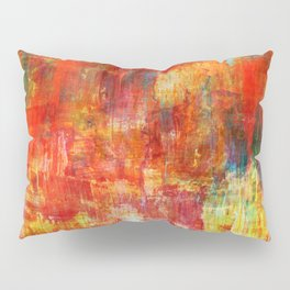AUTUMN HARVEST - Fall Colorful Abstract Textural Painting Warm Red Orange Yellow Green Thanksgiving Pillow Sham