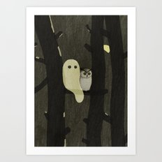 Little Ghost & Owl Art Print