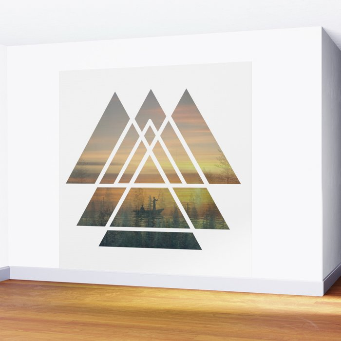 Sacred Geometry Triangles - Magical Misty Nature Wall Mural