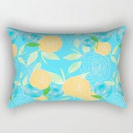 06 Yellow Blooms on Blue Rectangular Pillow