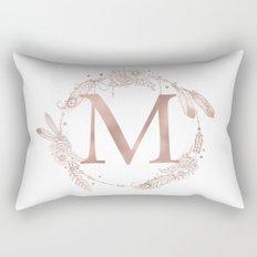 Letter M Rose Gold Pink Initial Monogram Rectangular Pillow