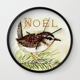 noel wren - watercolor Wall Clock