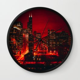 Red Chicago River at Night Wall Clock