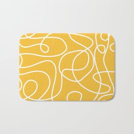 Doodle Line Art | White Lines on Mustard Yellow Bath Mat