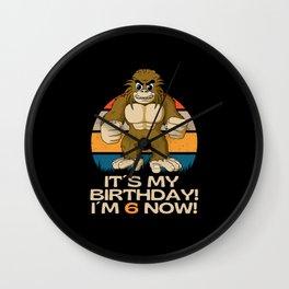 Sixth Birthday  6 Years  Little Bigfoot Wall Clock