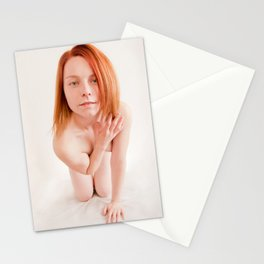 8726s-MM Clear Eyed Art Nude Model Red Hair High Key Light Stationery Cards