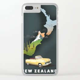 New Zealand travel poster Clear iPhone Case