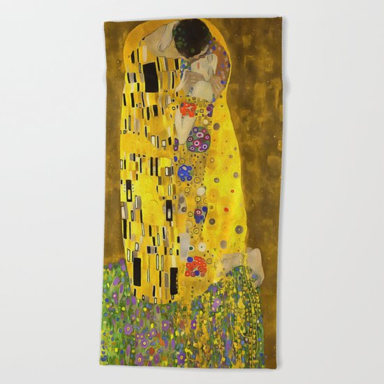 The Lovers Kiss After Klimt Beach Towel