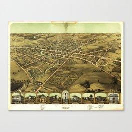 Aerial View of Pontiac, Oakland County, Michigan (1867) Canvas Print