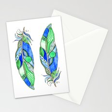 Bohemian Spirit Feathers - Blue & Green Stationery Cards