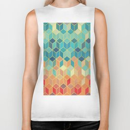 Colorful Squares with Gold - Friendly Colors and Marble Texture Biker Tank